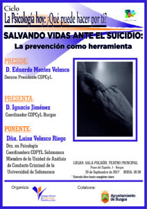 "Conferencia: ""Salvando vidas ante el suicidio"" @ Sala Polisón del Teatro Principal de Burgos 