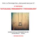 """IV Tertulias """"Actualidad, pensamiento y psicoanálisis"""""""