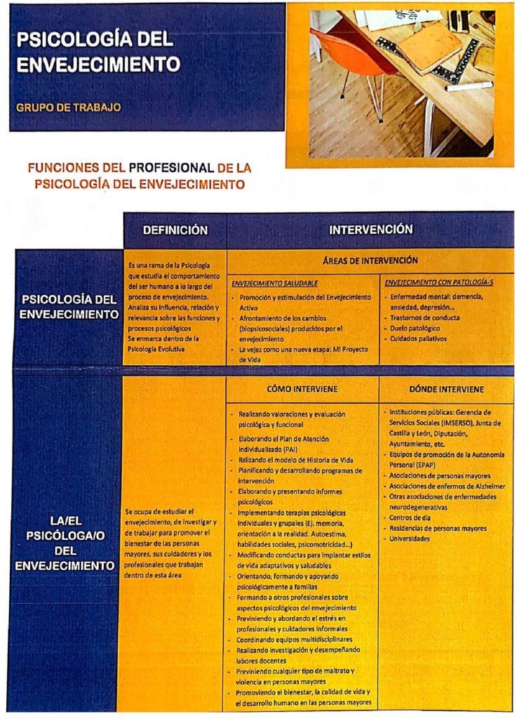 Funciones profesional Psicología del Envejecimiento